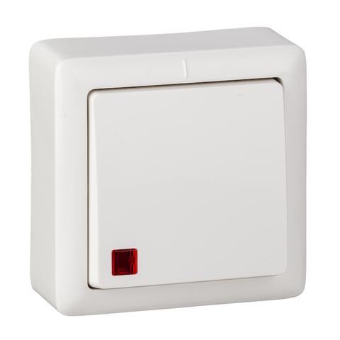 Выключатель одноклавишный с подсветкой 6 А 250 В. Цвет Белый. Schneider Electric(Шнайдер электрик). Hit(Хит). VA16-137-B