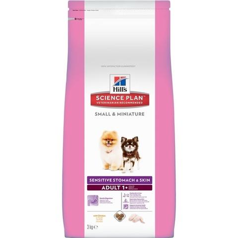 Hill's Science Plan Sensitive Skin & Stomach  сухой корм для собак мелких пород для здоровья ЖКТ, кожи и шерсти, курицей  Small & Miniature