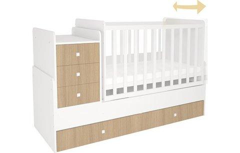 Кроватка детская Polini kids Simple 1111 с комодом, белый-ваниль