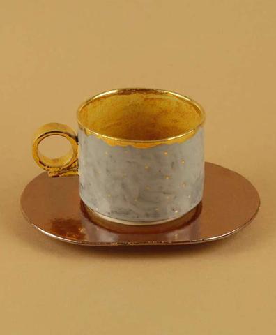 Чайная пара серая с золотыми точками