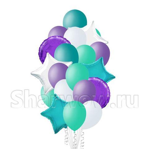 Букет воздушных шаров белый, сиреневый и бирюзовый со звездами