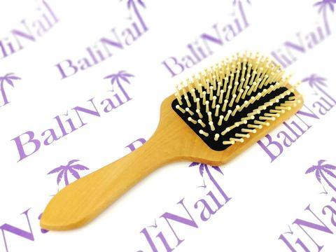 Расчёска деревянная широкая с бамбуковыми зубчиками