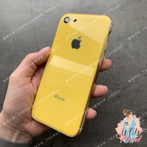 Чехол iPhone 7/8 Glass Silicone Case Logo /yellow/