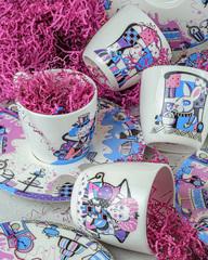 Фарфоровая чайная пара «Чеширский кот» из серии «Алиса в Стране Чудес», Россия