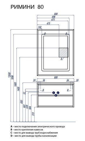 Мебель для ванной Акватон Римини 80 черная глянцевая схема