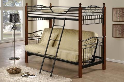 Двухъярусная кровать Fun Futon DD металлическая с деревянными ножками 90х190 темный орех