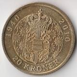 K6229, 2010, Дания, 20 крон Дания 70 лет Королеве