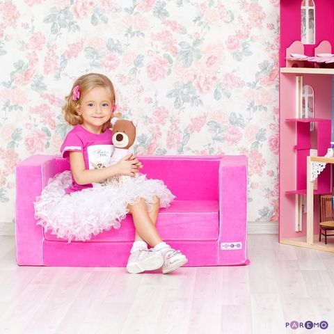 Раскладной игровой диванчик, цв. Розовый