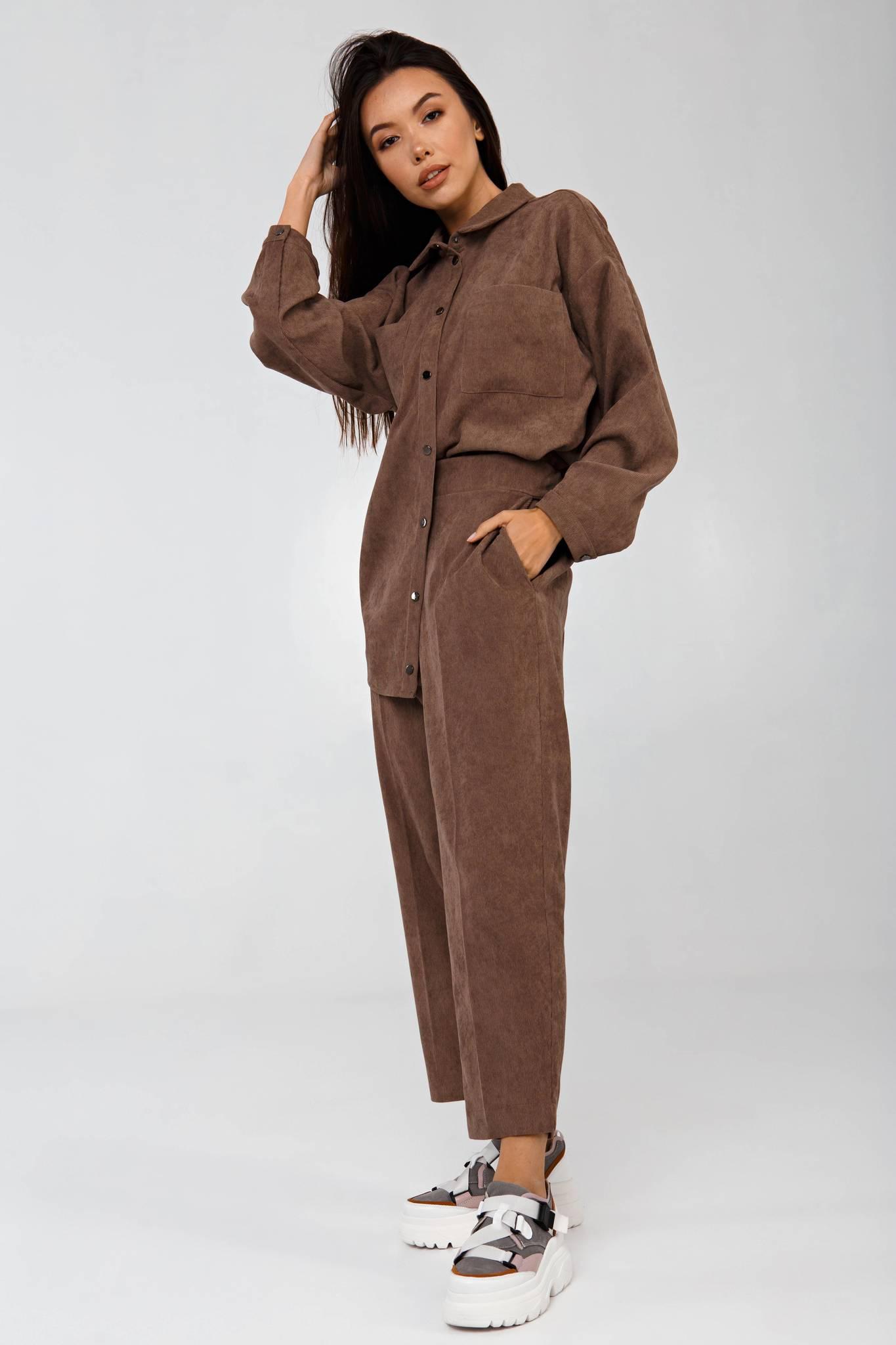 Брюки вельветовые в рубчик коричневые YOS от украинского бренда Your Own Style