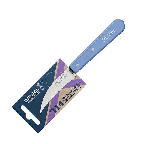 Нож для чистки овощей Opinel №114, деревянная рукоять, нержавеющая сталь, синий, блистер