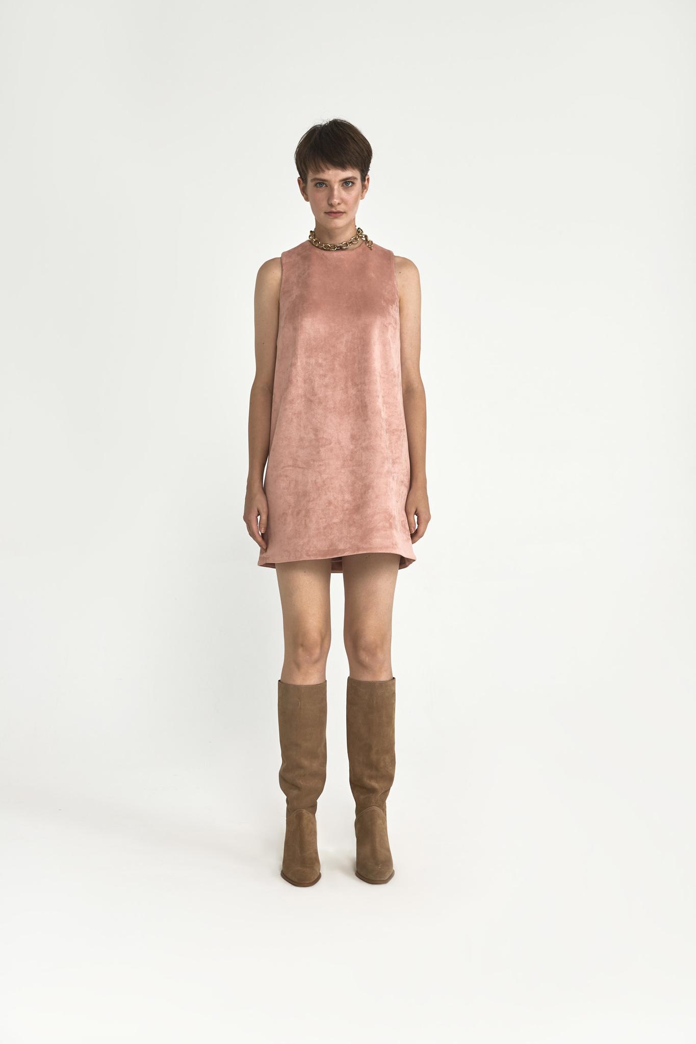 Платье-футляр мини из искусственной замши, розовая пудра