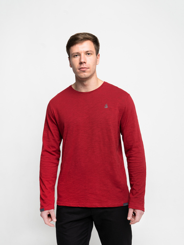 Long-sleeved crewneck melange t-shirt