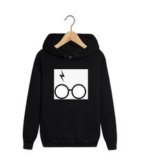 Толстовка черная с капюшоном (худи, кенгуру) и принтом Гарри Поттер (Harry Potter) 001