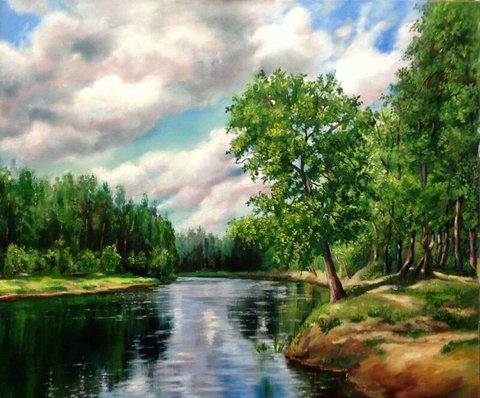 Картина раскраска по номерам 30x40 Зеленые краски лета (арт. KTL2245)