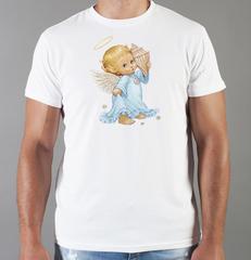 Футболка с принтом Ангелы (Ангелочки) белая 0012