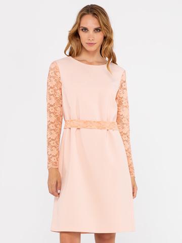 Фото светло-розовое прямое платье с кружевными рукавами и поясом - Платье З241-307 (1)