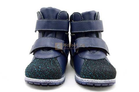 Ботинки для мальчиков Лель (LEL) из натуральной кожи на байке на липучках цвет синий. Изображение 5 из 14.