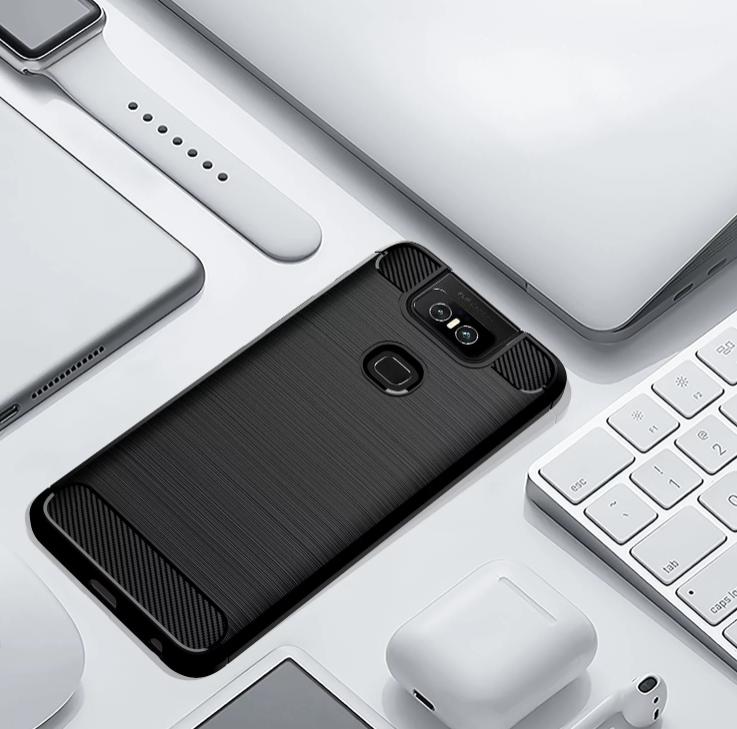 Чехол для Asus ZenFone 6 (ZenFone 6Z) цвет Black (черный), серия Carbon от Caseport