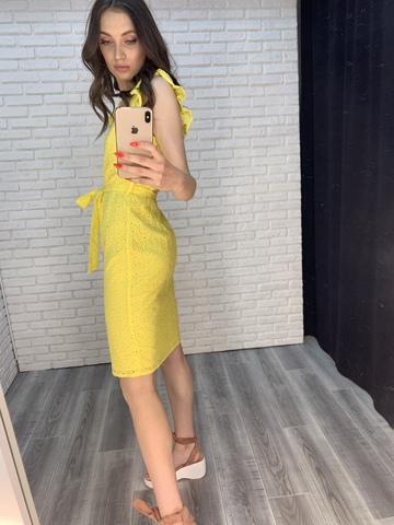 желтое платье с пуговицами купить