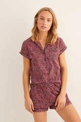Коротка піжама сорочкового типу з квітковим принтом