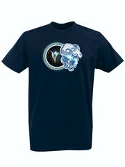 Футболка с принтом Знаки Зодиака, Овен (Гороскоп, horoscope) темно-синяя 005