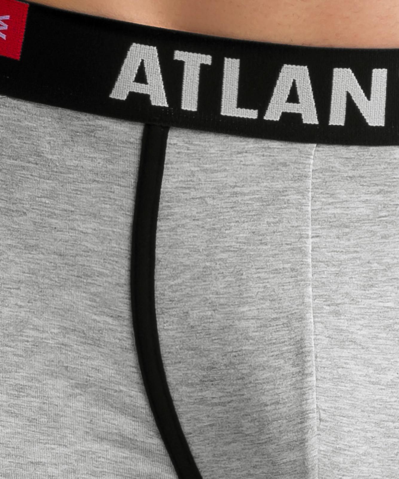 Мужские трусы шорты Atlantic, набор из 3 шт., хлопок, черные + деним + серый меланж, 3SMH-002