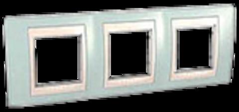 Рамка на 3 поста. Цвет Морская волна/бежевый. Schneider electric Unica Хамелеон. MGU6.006.570