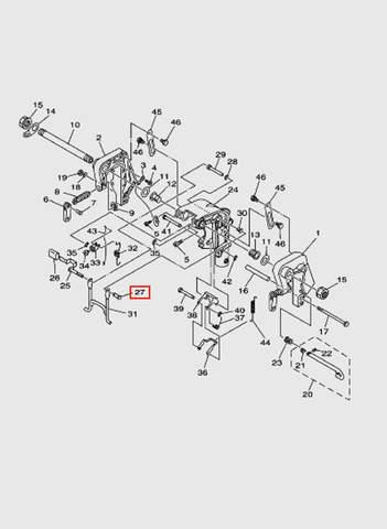 Рычаг стопора  для лодочного мотора T15, OTH 9,9 SEA-PRO (13-27)