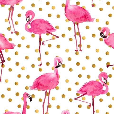 Розовые фламинго и золотые точки