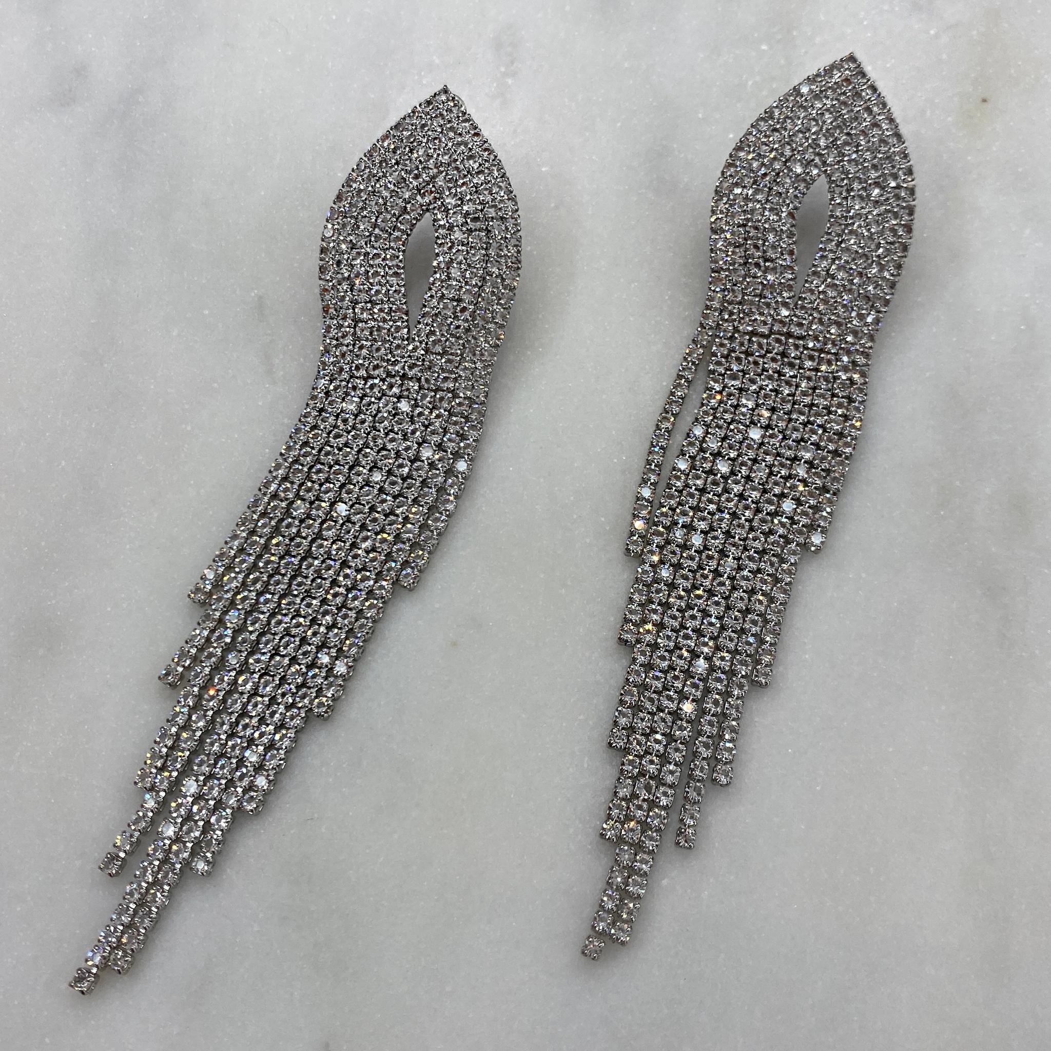Серьги каскадные с кристаллами