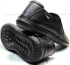 Мужские летние слипоны туфли кожаные casual стиль для мужчин Ridge Z-291-80 All Black.