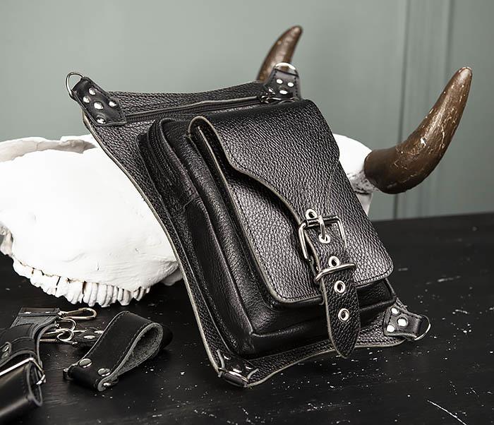 BAG369-1 Мужская набедренная сумка ручной работы из натуральной кожи фото 04