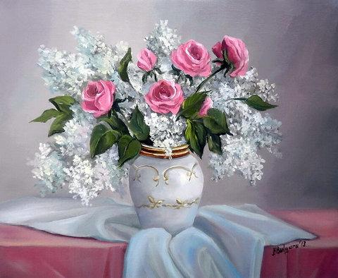 Алмазная Мозаика 40x50 Розы и белая сирень в белой вазе