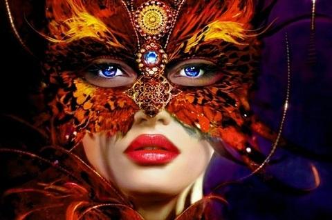 Алмазная Мозаика 30x40 Девушка в маске (Арт. HZS155)