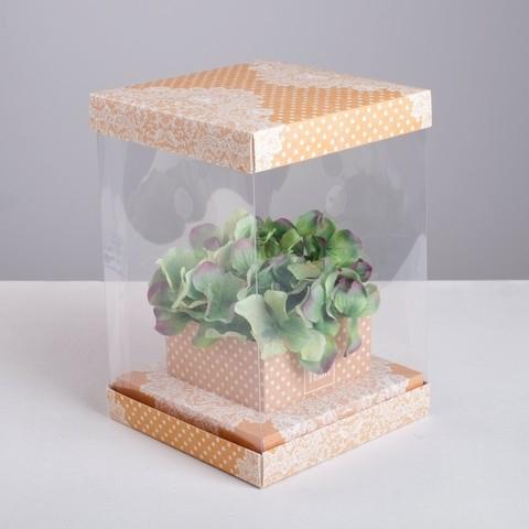 Коробка для цветов с вазой и PVC окнами складная «Кружева», 16 х 23 х 16 см