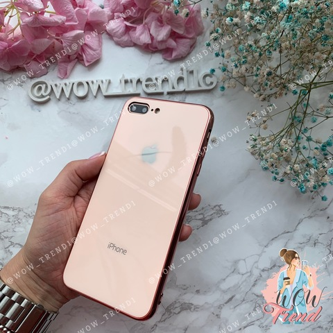 Чехол iPhone 7/8 Plus Glass Case Logo /rose gold/