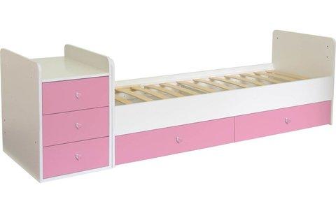 Кроватка детская Polini kids Simple 1111 с комодом, белый-роза