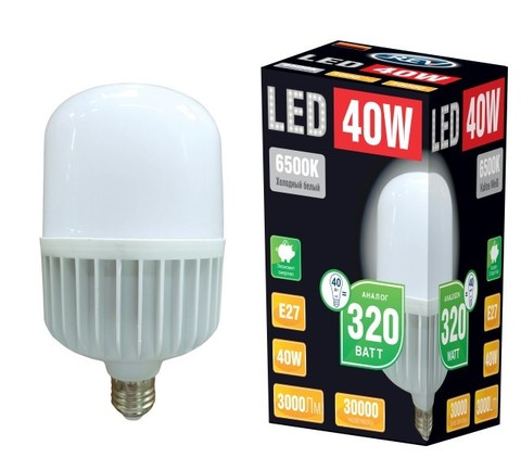 Лампа сд T120 E27 40W,6500K,дневной свет