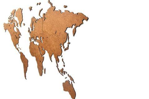 Карта мира Wall Decoration Brown 90 x 54 cm