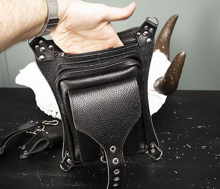 BAG369-1 Мужская набедренная сумка ручной работы из натуральной кожи фото 06