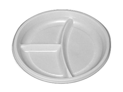 Тарелка одноразовая пластиковая 3-х секц. Атлас (6г) D=205мм