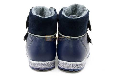 Ботинки для мальчиков Лель (LEL) из натуральной кожи на байке на липучках цвет синий. Изображение 8 из 14.