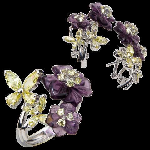 Комплект украшений с цветами из фиолетового кварца и фианитами № 130