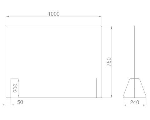 Настольный экран Ш.1000 мм, В.600/750мм