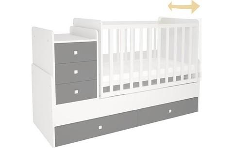 Кроватка детская Polini kids Simple 1111 с комодом, белый-серый
