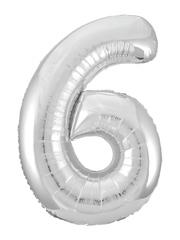 Р Цифра, 6, Slim, Серебро, в упаковке 40''/102 см,  1 шт.