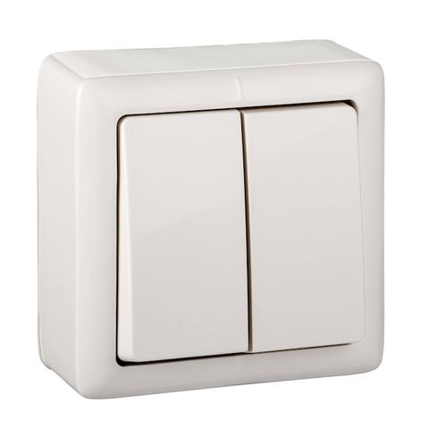 Выключатель двухклавишный 6 А 250 В. Цвет Белый. Schneider Electric(Шнайдер электрик). Hit(Хит). VA56-232-B