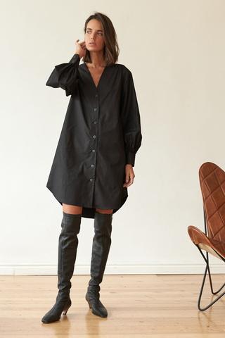 Платье-рубашка мини, черный