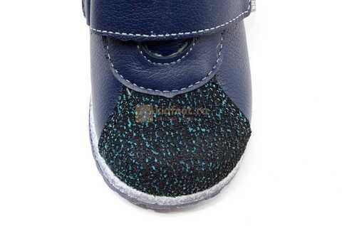 Ботинки для мальчиков Лель (LEL) из натуральной кожи на байке на липучках цвет синий. Изображение 10 из 14.