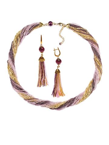 Комплект украшений золотисто-фиолетовый (длинные серьги из бисера, бусы из бисера 24 нити)